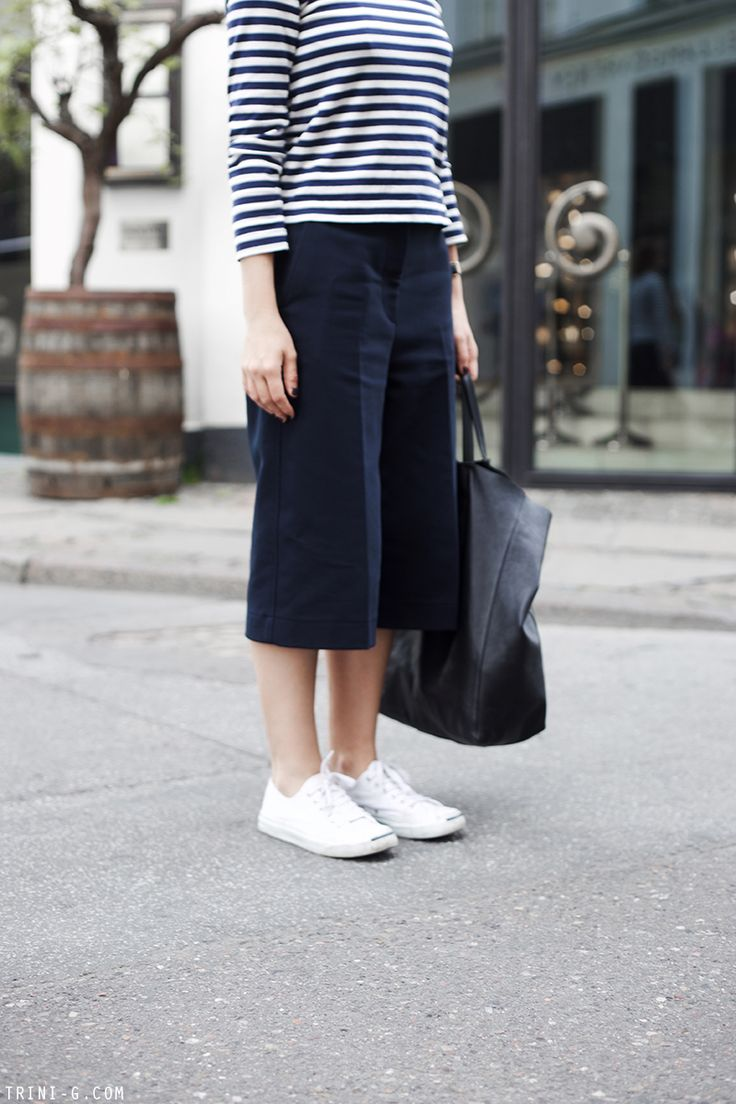 Trini | 3.1 Phillip Lim culottes - Comme des Garçons PLAY striped tshirt - Converse Jack Purcell sneakers - Céline cabas bag