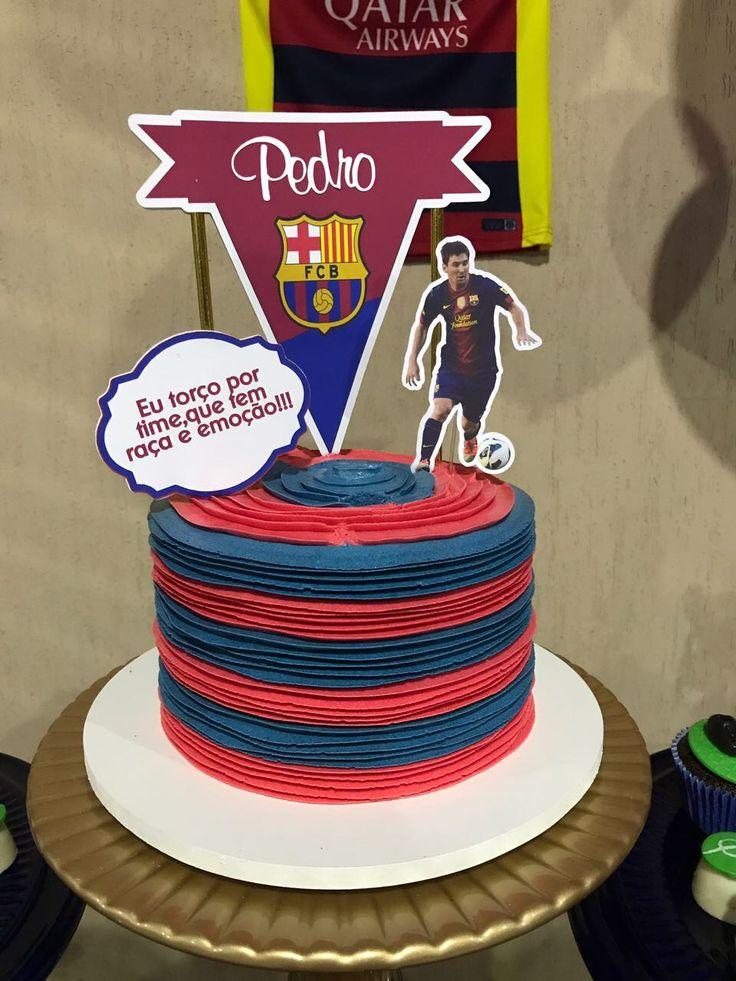 Topo do bolo tema Barcelona produzido por Mônica Guedes