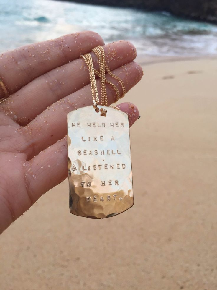"""He held her like a seashell and listened to her heart"" dog tag necklace by JM"