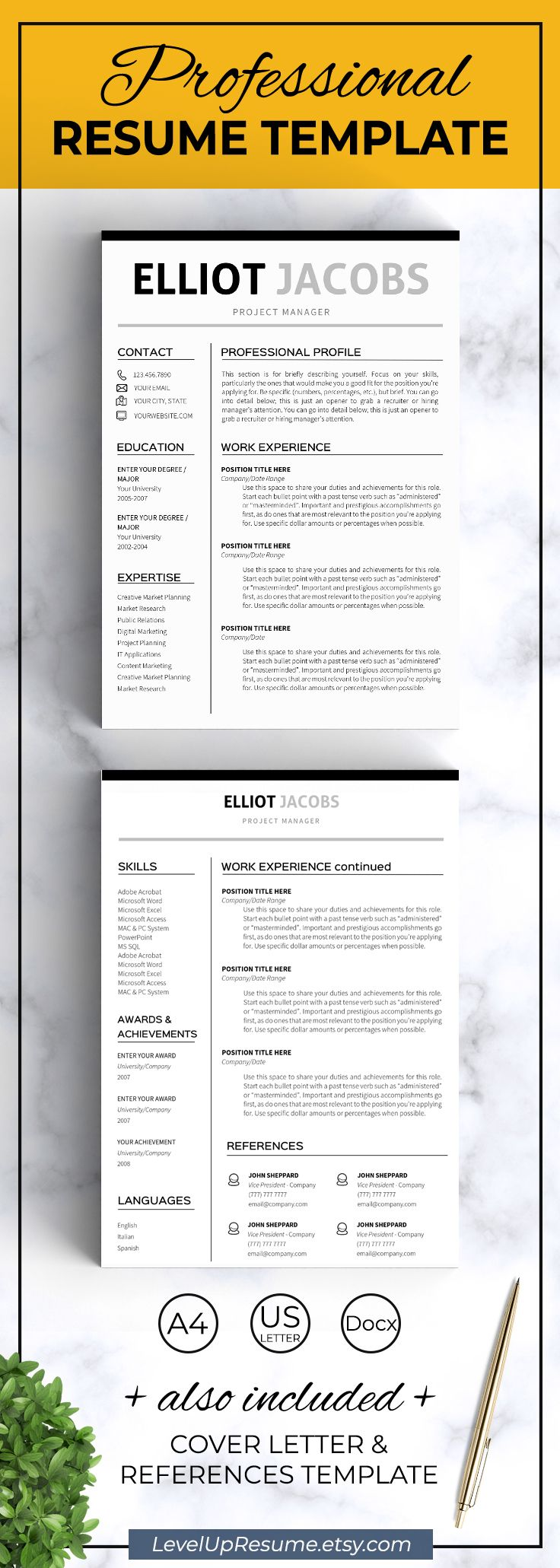 Modern resume template. Professional resume design. Career advice. Job search. Get hired!  Click on the link or save the pin to your board >>>>> #career #career advice #job #jobsearch #resume #resumetemplate #girlboss  . Minimalist Resume template Instant download Clean resume template word Business resume for word 1 2 page resume Man Resume with icons EJ