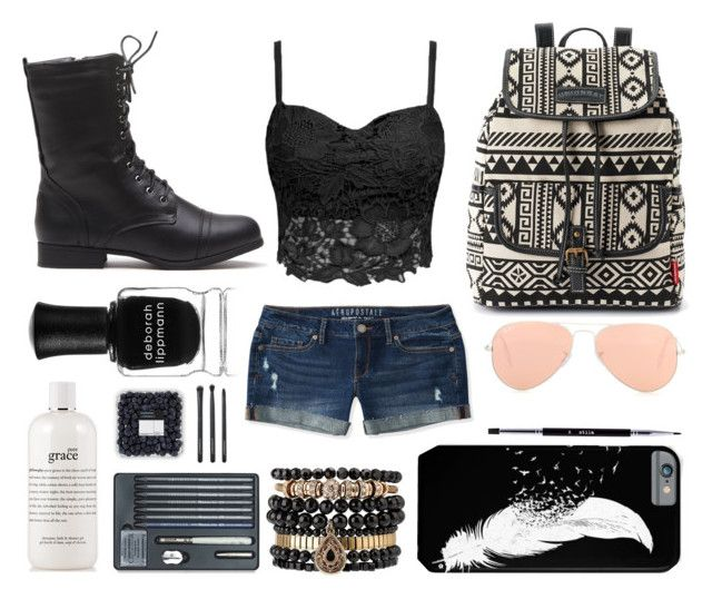 """""""Hippie//punk"""" by haley-310 ❤ liked on Polyvore featuring Aéropostale, UNIONBAY, Ray-Ban, Samantha Wills, Deborah Lippmann, philosophy, Japonesque and Stila"""