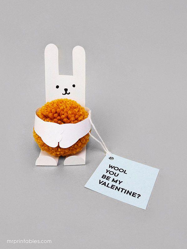 Hug a pompom! Animal Valentine's Day Cards with Pom-poms - free templates | Mr Printables X Pom Maker