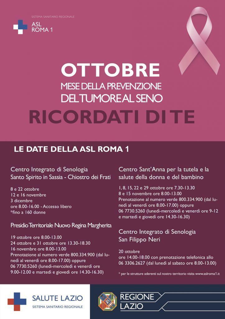Ottobre Rosa, le date della ASL Roma 1 per il mese della prevenzione