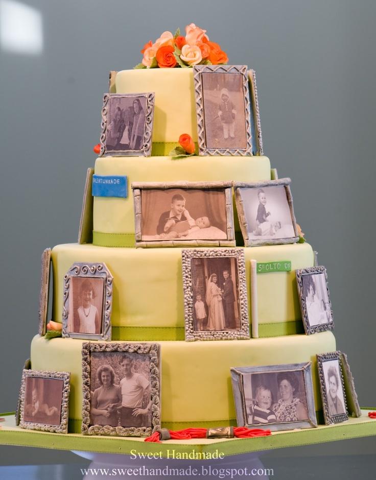 Birthday Cake With Handmade Sugar Frames