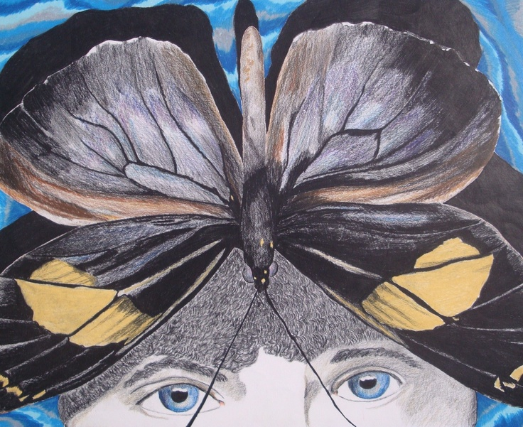 Metamorphsis. $25.00, via Etsy.  Butterfly drawing from high school
