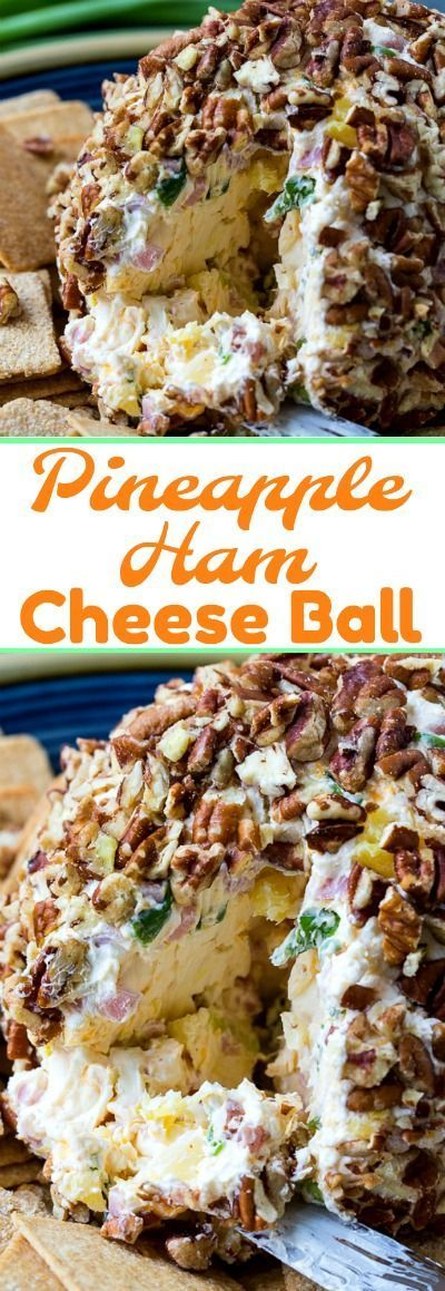Pineapple, ham, cream cheese, cheddar cheese, and green onion make a savory cheese ball with a little sweetness. The whole cheese ball is coated in crunchy pecans…