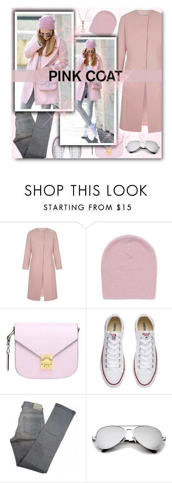"""Hey Girl: Pretty Pink Coat"" by matildiwinky ❤ liked on Polyvore featuring ISH, MCM, Converse, Comptoir Des Cotonniers and LE VIAN"