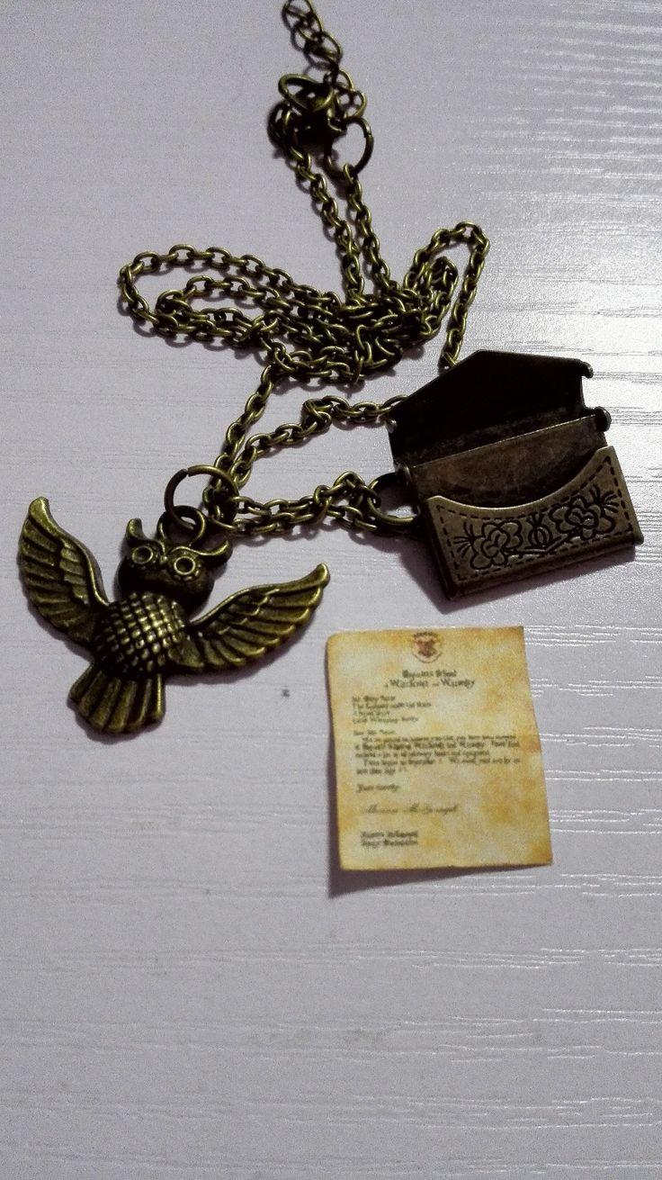 OS FÃS de HP A Aceitação de Hogwarts carta + envelope + HOALLAWEEN Hedwig coruja Colar de presente partido presente presente em Colares de cadeia de Jóias & Acessórios no AliExpress.com   Alibaba Group