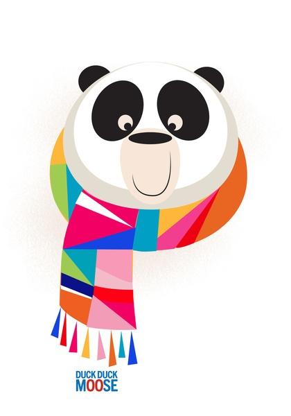 Monochromatic animals wearing scarves, Panda. Art Print by Duck Duck Moose | Society6