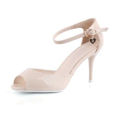 Mid Heel Peep Toes Buckle Elegant Champagne Online Wedding  Shoes