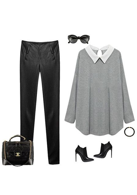 Chiffon-Collared Grey Jersey Top - Features Back Keyhole Button
