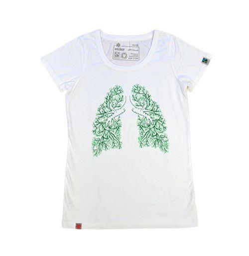 Organic Fairtrade Tshirt Women's Lung Tree White - Etiko Shop