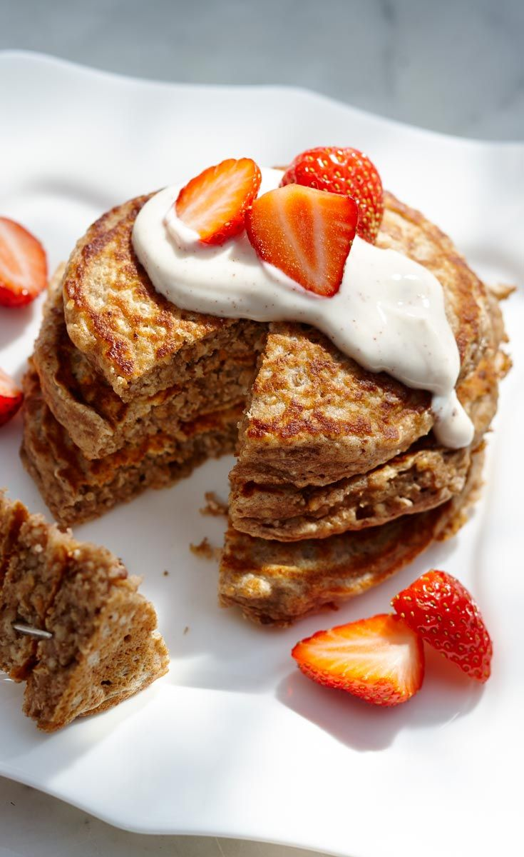 Hearty grains add substance to pancakes without adding heaviness and will keep you satisfied through the morning. The milk and yogurt keeps them tender and surprisingly fluffy. The Cinnamon Yogurt topping is the perfect complement along with fresh fruit.