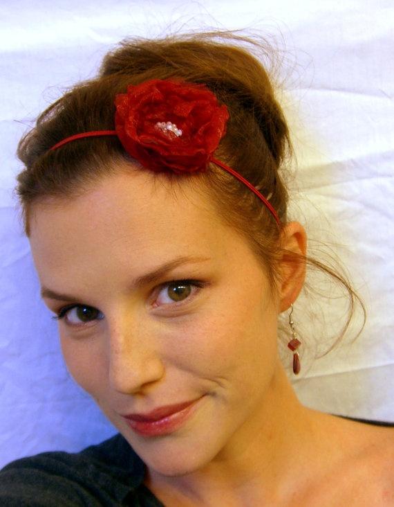 Flower Headband Dark red layered singed organza by AmbrosialLayne, $7.25