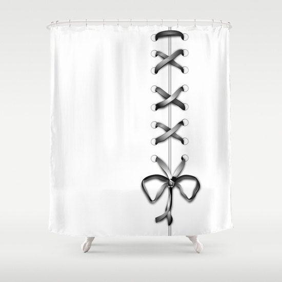 White Laced Shower Curtain, Grey Ribbon Bathroom Decor, Modern Home Decor, Feminine Shower Curtain, Romantic,Wedding Gift,Bow Shower Curtain