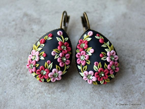 Lovely Polymer Clay Applique Statement Earrings by charancreations