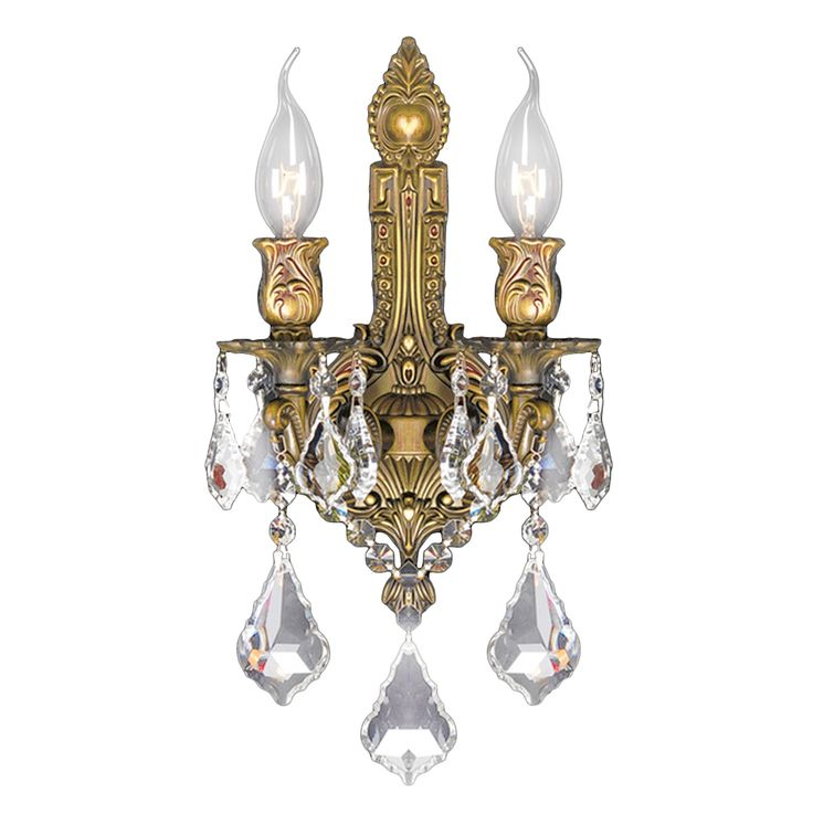 Worldwide Lighting Versailles French Gold And Golden Teak Crystal Wall Sconce Light At The Home Depot