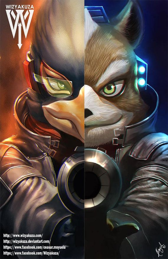 Falco Lombardi & Fox McCloud Split Nintendo: Super by Wizyakuza