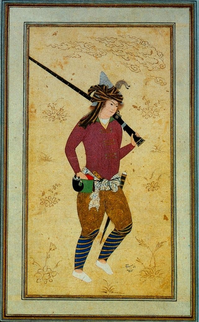 "Safavid Persian musketeer, 1600s. Persians were introduced to gunpowder in the Timurid dynasty, guns seem to have reached Persia by the time of the Aq Qoyunlu ruler Uzun Hasan. The generic word for gun in Persian is Tofank, the original meaning was a hollow wooden tube used to hunt small birds by blowing pellets through it. The word tof, ""spit,"" is onomatopoeic, denoting the sound of forceful blowing through a tube. From the 16th century onwards the term usually appears as Tofang in sources."