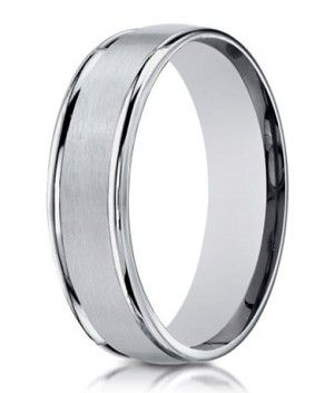 designer 10k white gold wedding ring with polished edges 8mm - Man Wedding Ring