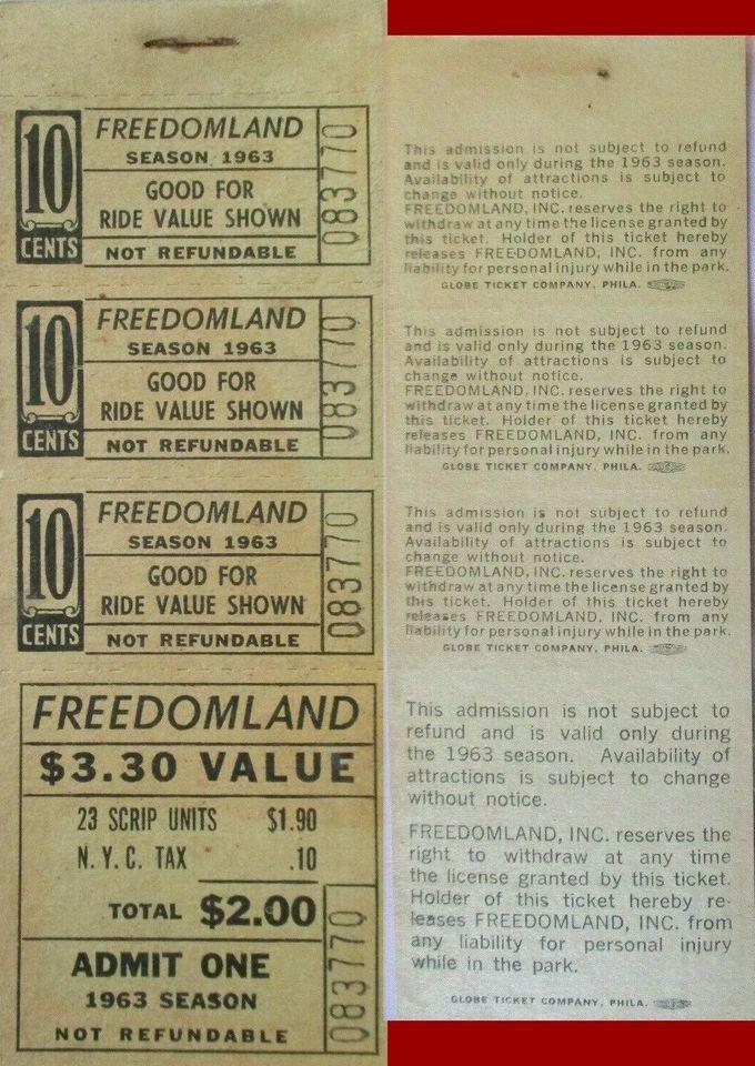 1963 Freedomland Ticket