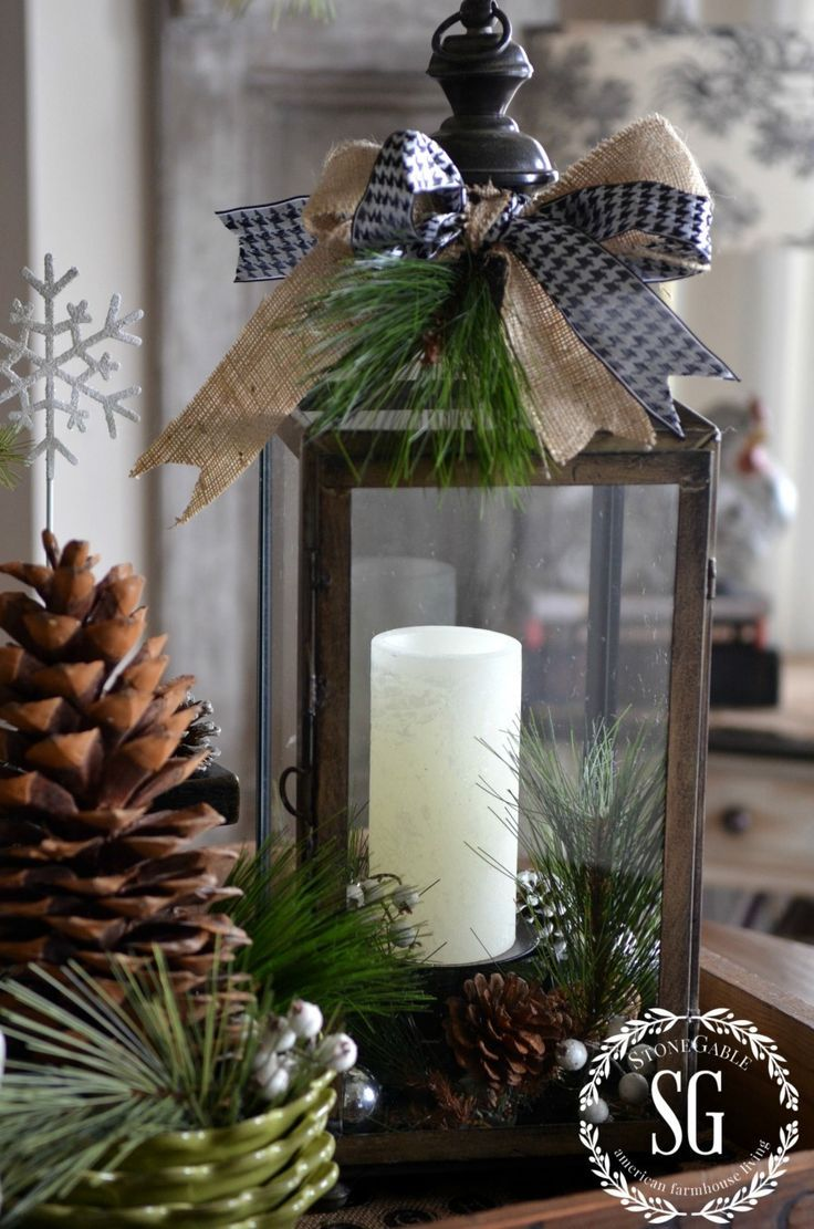 P erfect for this autumn season! getting ready for winter decor! FARMHOUSE CHRISTMAS VIGNETTE-lantern with greens-stonegable...