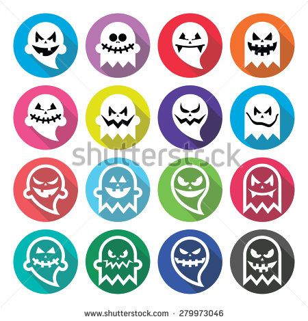 Halloween scary ghost, spirit flat design icons set by RedKoala #vector #cute #funny