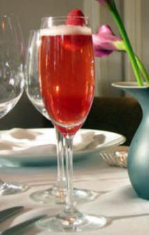 Valentini  Ingredients:   1-1/2 ounces raspberry, strawberry, or plain flavored vodka   1 ounce raspberry schnapps   Squirt of lime juice   A few fresh raspberries   Champagne     Directions:   Combine vodka, schnapps, and lime juice in a cocktail shaker and gently shake. Strain into a Champagne glass with a few raspberries in the bottom. Fill glass with Champagne.