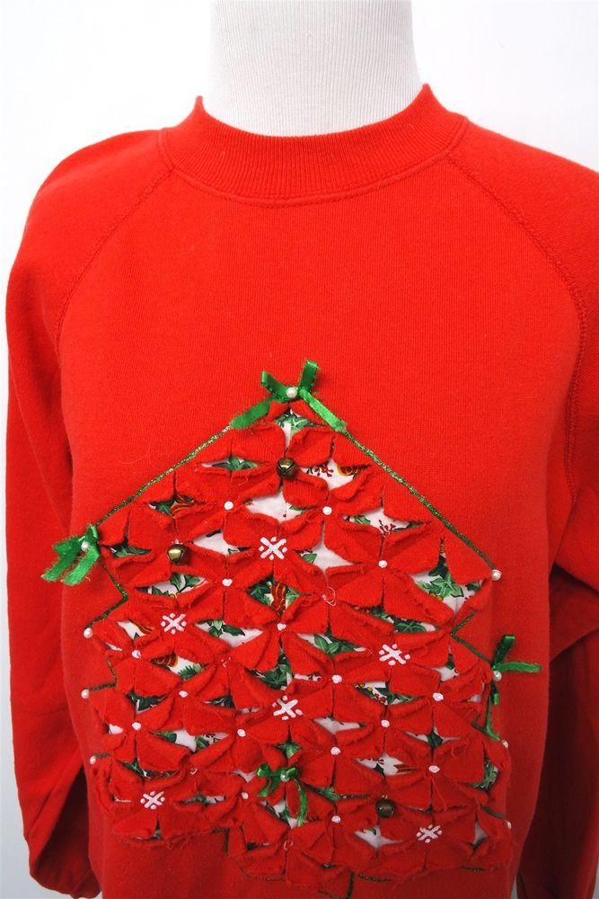 UGLY CHRISTMAS SWEATER womens sz L Pullover #380 #fashion #clothing