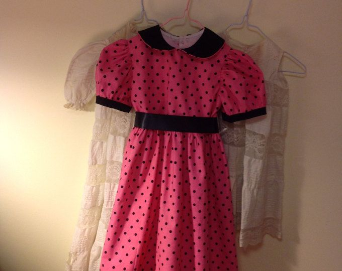 Girls Handmade Dresses Girls special occasion dress Hot Pink and black polka dot Size 4T 45.00