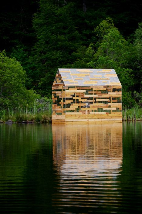 Walden Raft by Elise Morin and Florent Albinet | Situated on Lac de Gayme in the Auvergne region of central France, Morin and Albinet's cabin follows the proportions of Thoreau's hut – with a 10-square-metre footprint and a height of four metres.