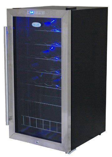 NewAir AWC270E 27 Bottle Compressor Wine Cooler by NewAir. $329.00. Fully enjoy the flavors and aromas of your wine with proper storage and cooling. NewAir's AWC-270E freestanding wine cooler holds up to 27 standard wine bottles at once and creates the optimal environment for your favorite vintages. This unit has a compressor-powered system which allows it to quickly and effectively chill wine down to 39? F. For accurate temperature control, the AWC-270E ...