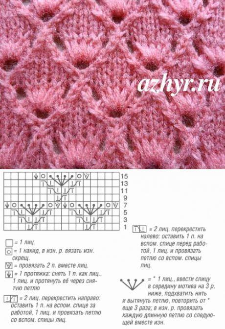 Ажурный узор с вытянутыми петлями   АЖУР - схемы узоров