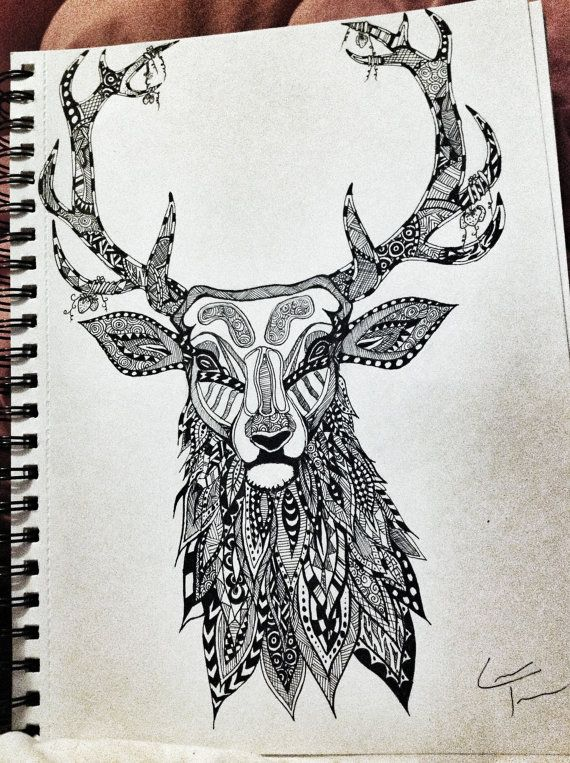 stag zentangle design by telferzentangle on etsy hdhx pinterest awesome tattoos awesome. Black Bedroom Furniture Sets. Home Design Ideas