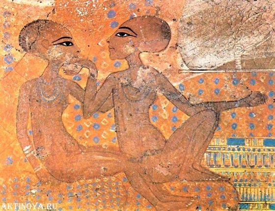 фрагмент стенной росписи с изображением царевен ахет атон. Зрелая/поздняя Амарна