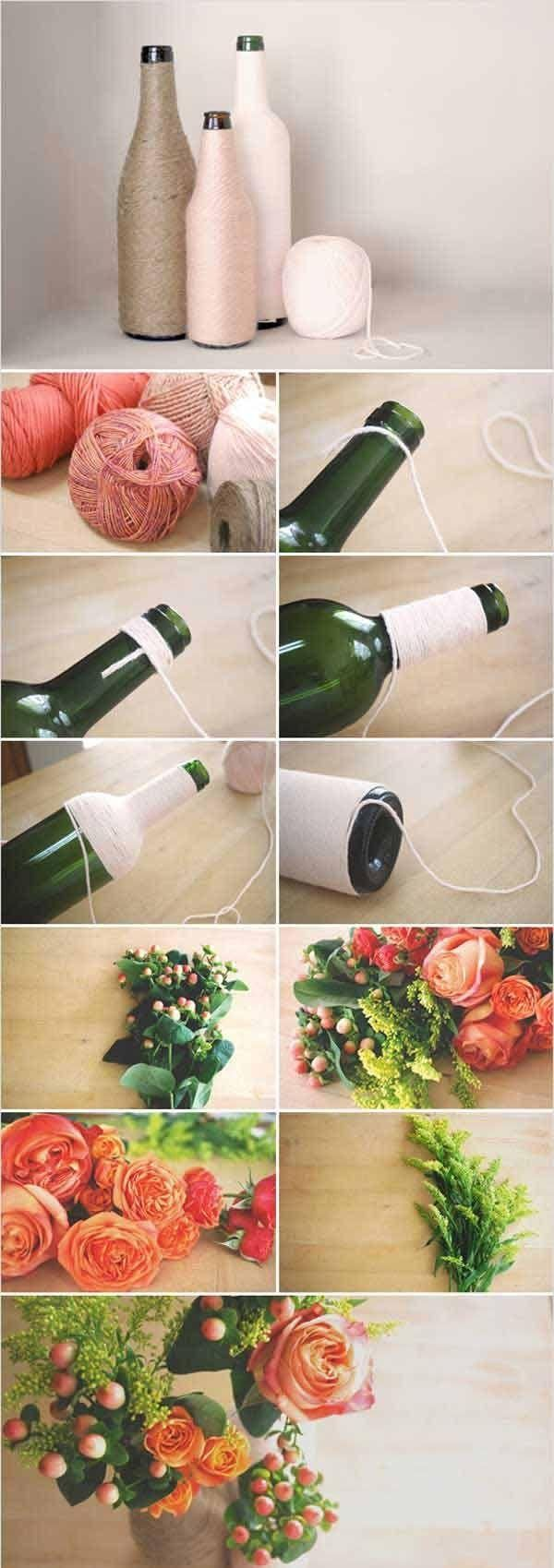 tischdeko hochzeit selber machen blumenvasen glasflaschen