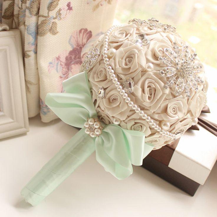 Мэнди 2016 свадебные аксессуары ленты жемчуг алмаз многоцветный градиент моделирование розы тай-крашения роскошный свадебный букет(China (Mainland))