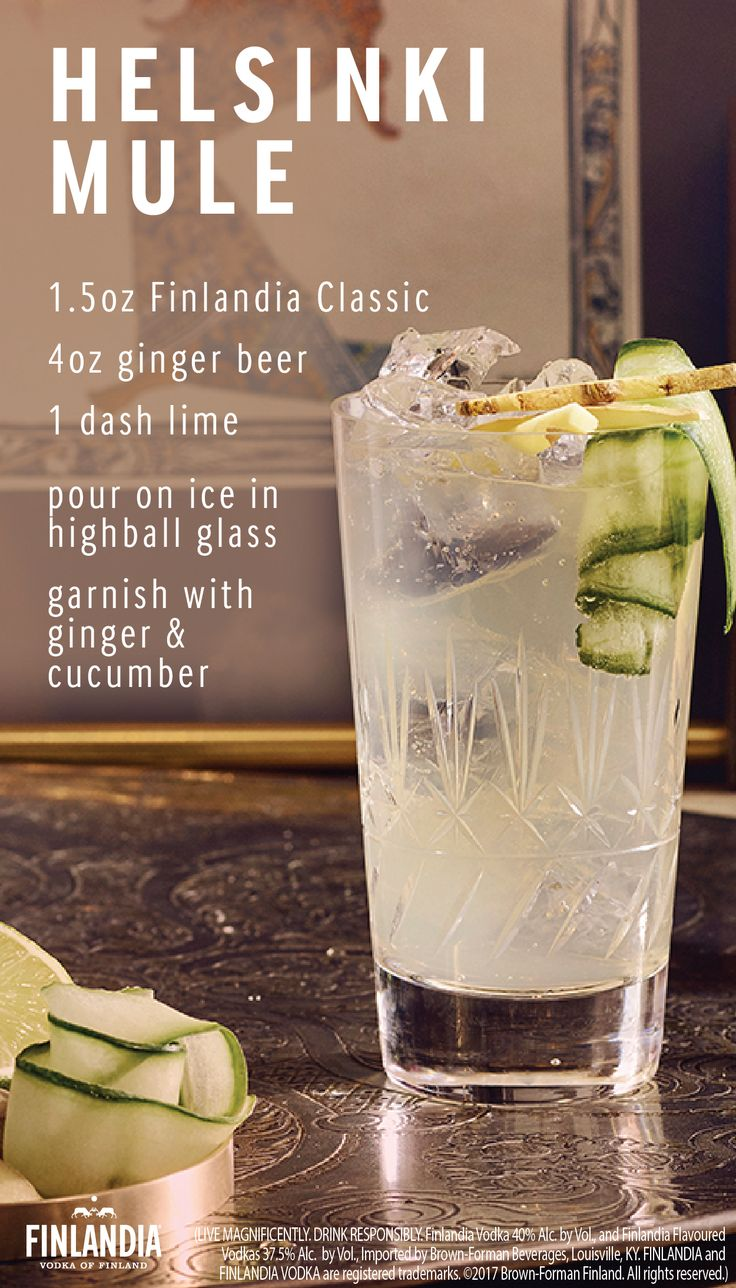 To wake the senses, add the ginger's heat. The Helsinki Mule is full of flavor and heightens your tastebuds. This is the perfect drink to make when you want to try out something new and unique. Build this cocktail with ice, adding a ribbon of ginger and cucumber for additional flavor and decoration.