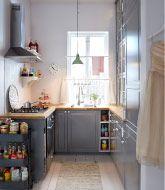 Cuisine avec BODBYN faces de tiroirs et portes grises et portes vitrées