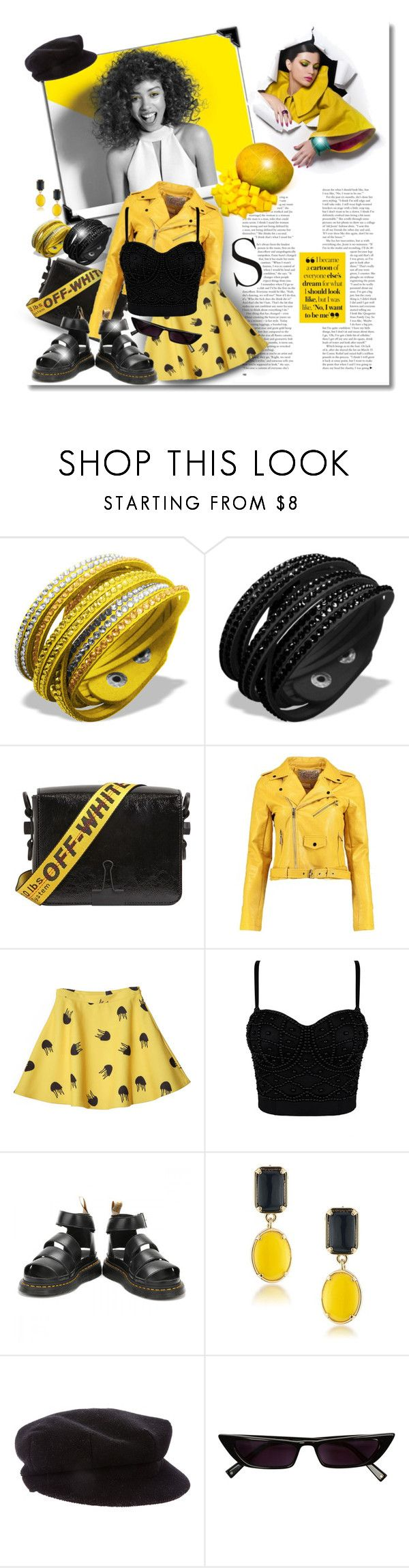 """""""Mango Color"""" by elona-makavelli ❤ liked on Polyvore featuring Paul Mitchell, Off-White, Boohoo, Dr. Martens, 1st & Gorgeous by Carolee and Burberry"""