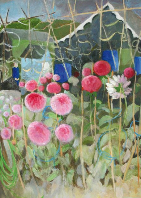 'His Dahlias' By Painter, Tessa Newcomb. Blank Art Cards By Green Pebble. www.greenpebble.co.uk