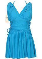 Women's Shaping Body Swimwear Two Piece Swimdress Elegant Skirted Swimsuit(FBA)