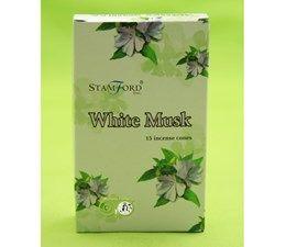 StamFord White Musk - Witte Muskus 15 Cones - kegels  Van witte muskus wordt gezegd dat het een essentieel Aphrodisiac zou zijn. Deze prachtige geur vult uw kamer met een romantische sfeer.
