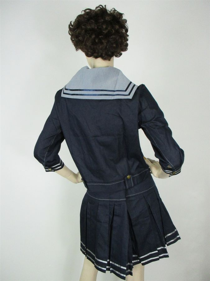 75b48fd3ec10 Sailor Suit M Denim Dark Blue Grey Theatrical Quality Costume Cosplay  Anime Dark Blue Denim