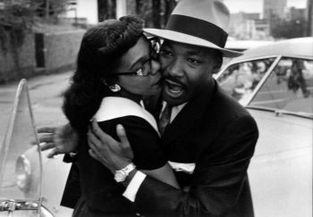 Charles Moore, Dr. Martin Luther King, Jr. gets a hug from his wife, Coretta Scott King, Montgomery, Alabama, 1958
