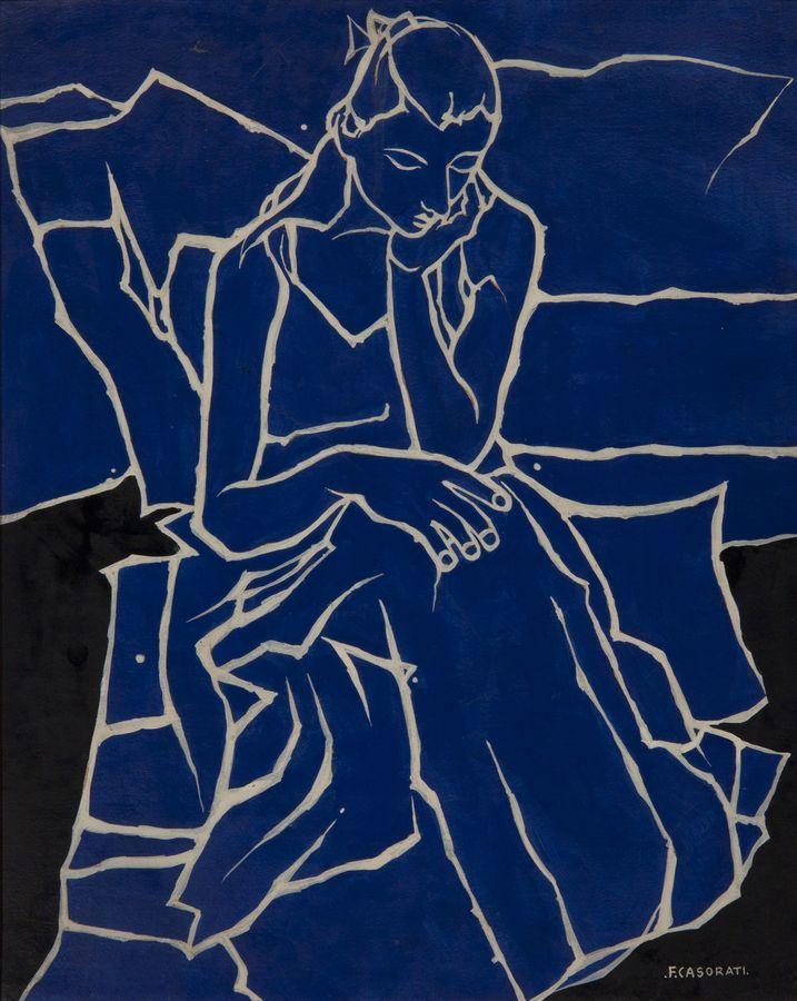 lanangon: Felice Casorati, Fanciulla, 1959, Painting on paper, 40×50|Artebay Contemporary Art e-Gallery