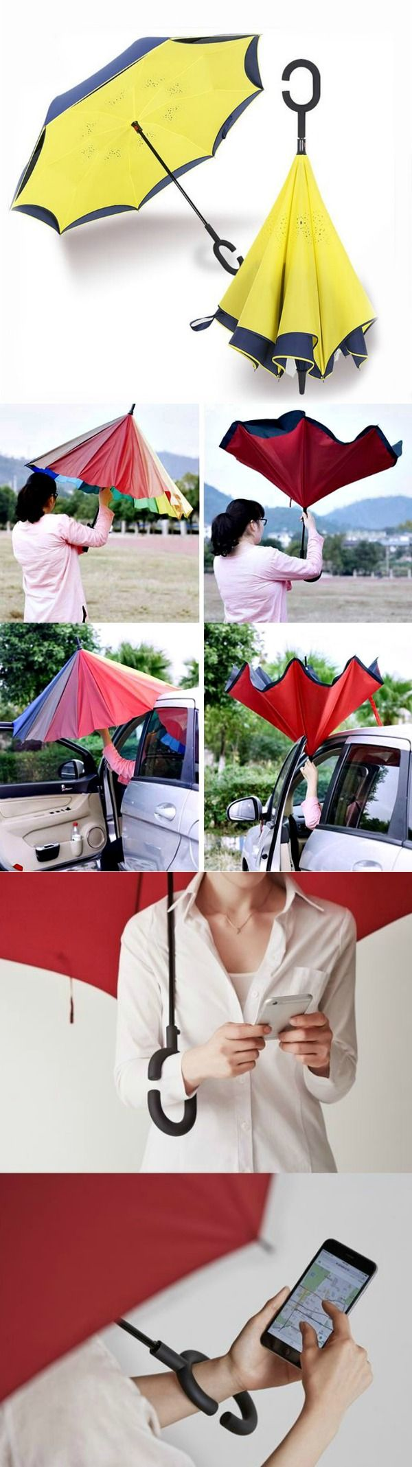 The Landrind Upside Down Umbrella inverts the umbrella design - the wet side of the umbrella faces inward when closed, exposing only the dry side.