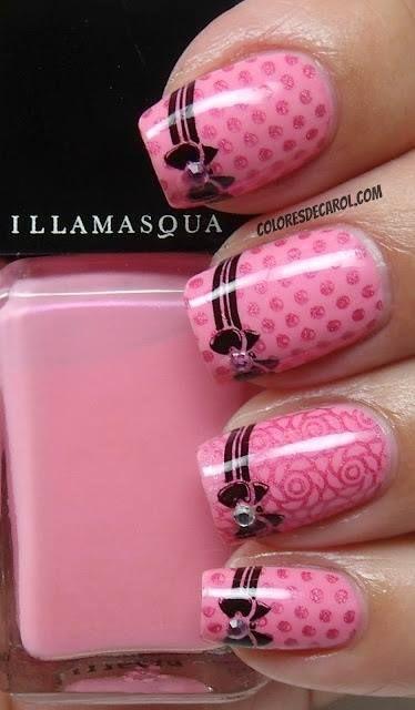 Pink & black nail design