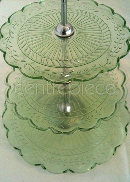 Cupcake Stand Pressed Glass Green