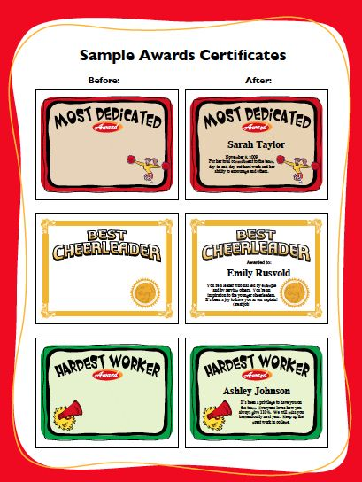 13 best award ideas images on pinterest award certificates cheerleading award templates enable you to create custom printable award certificates for players coaches and team parents yadclub Images